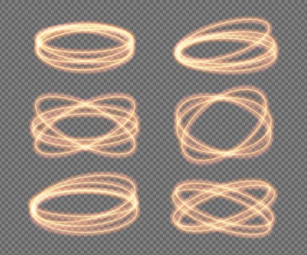 Set o cerchi al neon con luce di fuoco vettoriale scintillante oro scintillio bagliore effetto bagliore spirale rotazioni di rotazione