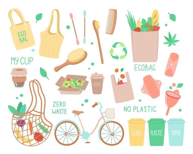 Insieme di oggetti sul tema dell'ecologia. Vettore Premium