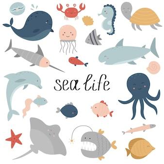 Un insieme di abitanti dell'oceano vita marina balena pesce spada tartaruga cavalluccio marino razza delfino squalo
