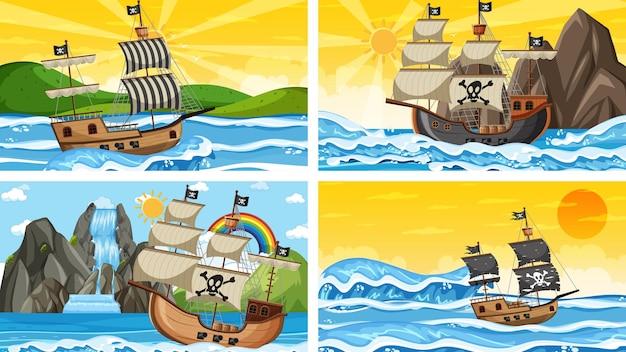 Set di ocean con nave pirata in scene di tempi diversi in stile cartone animato