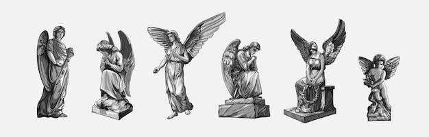 Parti con sculture di angeli in preghiera che piangono con le ali