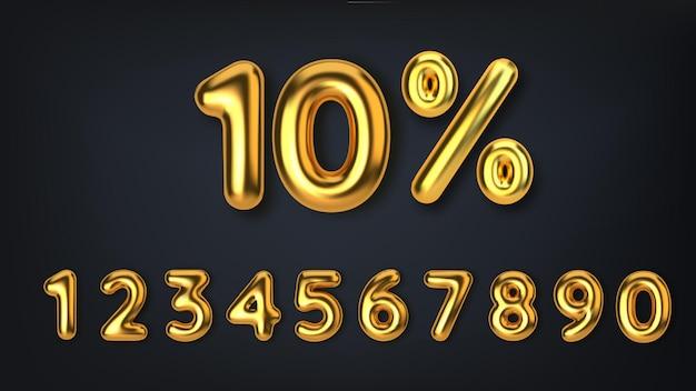 Imposta la vendita di promozione sconto fatta di palloncini d'oro 3d realistici numero sotto forma di palloncini dorati