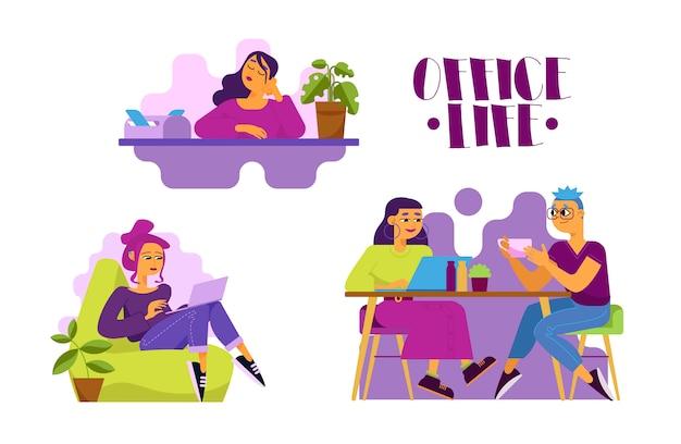 Serie di illustrazioni di vita in ufficio