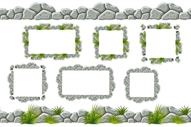 Insieme di vecchio bordo di roccia grigia, cornici con erba.