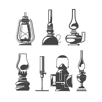 Set di vecchie lampade a olio, lanterne vintage a cherosene o olio, collezione di lampade per la casa e trackwalker