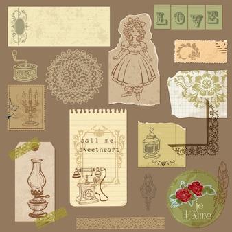 Set di vecchia carta con articoli vintage per la progettazione e l'album