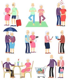 Insieme di anziani in diverse situazioni. attività di uomo e donna senior