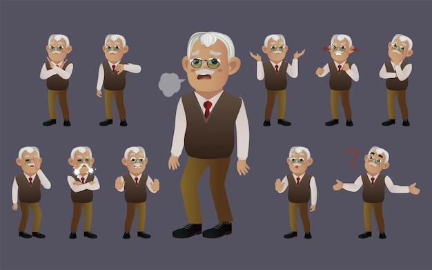Insieme di persone anziane con emozioni diverse
