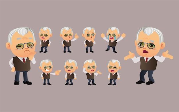 Set di persona anziana con emozioni diverse