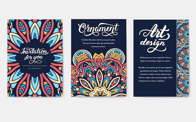 Set di vecchio ramadan kareem flyer pagine ornamento illustrazione concetto.