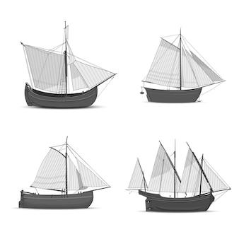 Insieme di vecchie navi a vela su sfondo bianco