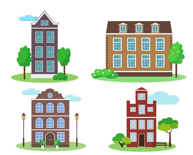 Insieme di vecchie case in stile con alberi su sfondo bianco.