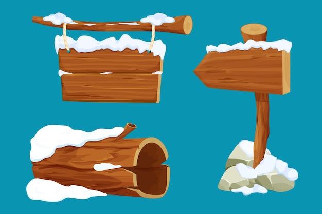 Imposta il vecchio cartello della freccia del tronco dell'albero appeso alla tavola di legno con la corda e la neve in stile cartone animato