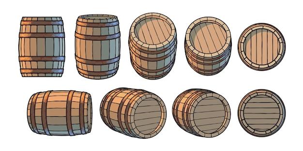 Set di vecchie botti di legno in diverse posizioni
