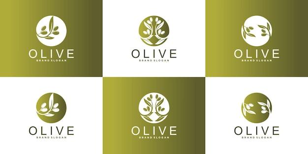 Set di design del logo dell'olio d'oliva con ramo d'ulivo, drupa fogliare, sfumatura dorata e biglietto da visita premium vecto