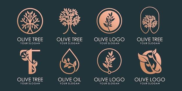 Set di logo e set di icone di oliva, olio e albero. modello di progettazione vettoriale. vettore premium