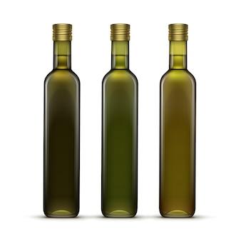 Set di bottiglie di vetro di olio di oliva o di girasole