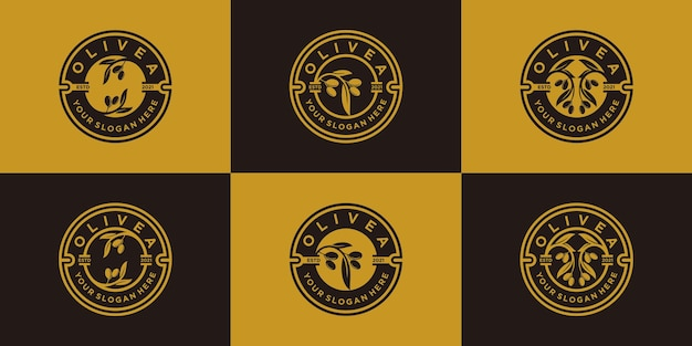 Set di collezione di design con logo di olivo e olio con stile moderno emblema vettore premium, parte 1