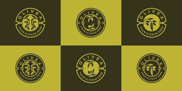 Set di collezione di design con logo di olivo e olio con stile moderno emblema vettore premium, parte 2