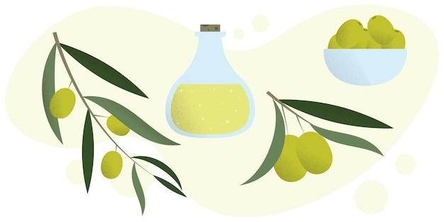 Un insieme di olive insieme vettoriale di olive illustrazione di un ramo di olive
