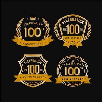 Set di cento etichette di anniversario