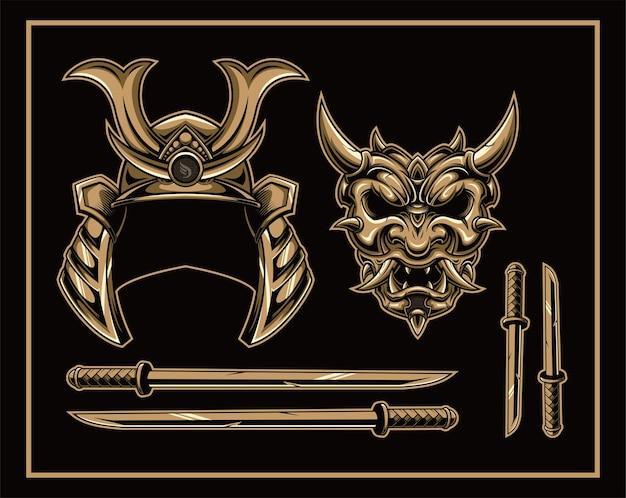 Set di disegno dell'illustrazione della maschera del demone giapponese oni