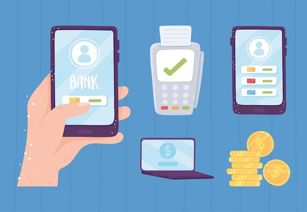 Metta l'illustrazione dei soldi delle monete dello smartphone del terminale di posizione bancaria in linea
