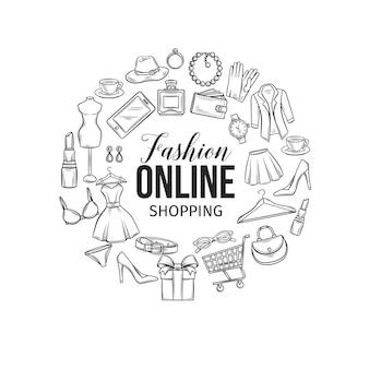 Set di icone dello shopping di moda online