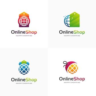 L'insieme del logo del negozio online progetta il vettore del concetto, il sito web e il cartellino del prezzo modello di logo dello shopping