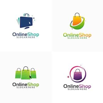 Set di logo del negozio online progetta il logo del modello, del computer e della borsa della spesa