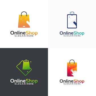 Set di modelli di design del logo del negozio online, icona del simbolo del logo del negozio di telefoni, icona del modello del logo
