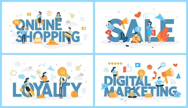 Set di parola dello shopping online con le persone intorno. vendita e fidelizzazione del cliente. strategia di marketing digitale. tecnologia moderna, internet ed e-commerce. illustrazione al tratto astratto di vettore