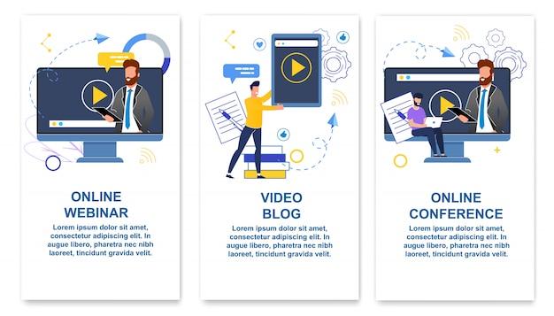 Imposta webinar online, blog video, conferenza online e sta conducendo corsi di formazione online Vettore Premium