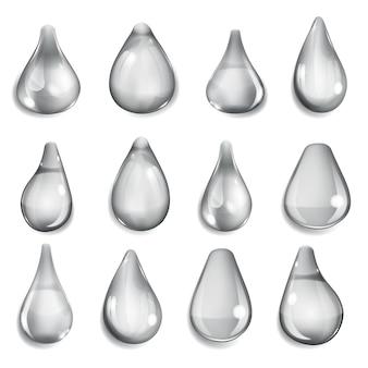 Set di gocce opache di diverse forme nei colori grigi