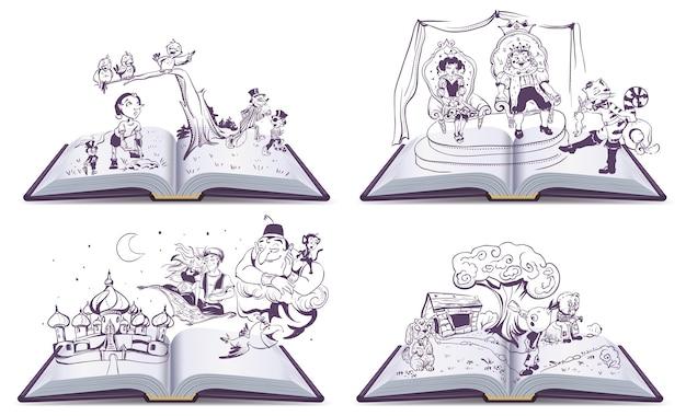 Impostare la storia del racconto dell'illustrazione del libro aperto di pinocchio, cipollino, alladin e il gatto con gli stivali.