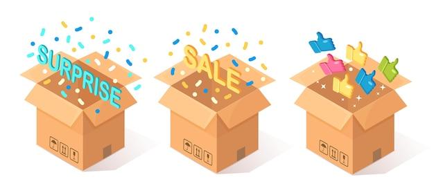 Set di cartone aperto, scatola di cartone con il pollice in alto su sfondo blu. pacchetto isometrico, regalo, sorpresa con coriandoli. testimonianze, feedback, recensione del cliente, concetto di vendita.