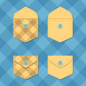 Set di tasche aperte e chiuse. illustrazione di vettore del modello di busta a scacchi.