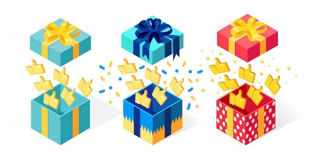 Set di confezione regalo aperta con il pollice in alto su sfondo bianco. pacchetto isometrico, sorpresa con coriandoli. testimonianze, feedback, concetto di recensione del cliente. cartone animato