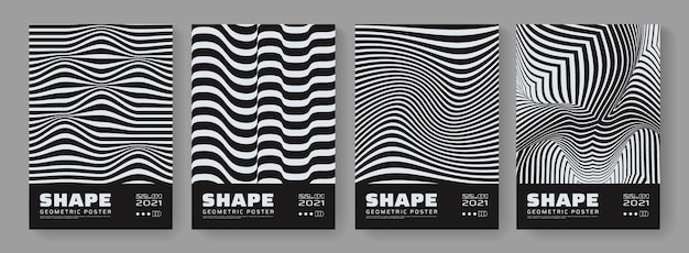 Set di poster di illusione ottica. strisce astratte. 3d linee ondulate sfondo. Vettore Premium