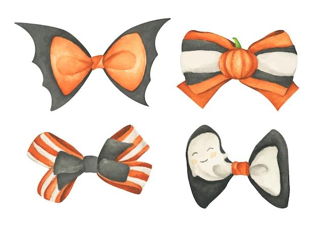 Set di fiocchi di halloween arancioni e neri. illustrazione dell'acquerello.