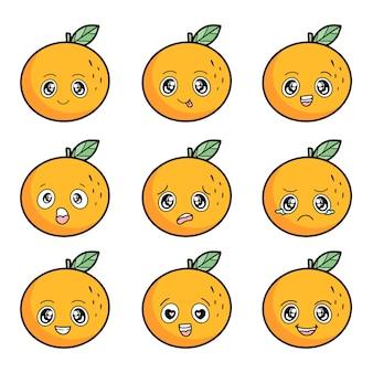 Set di arancia con diverse emozioni