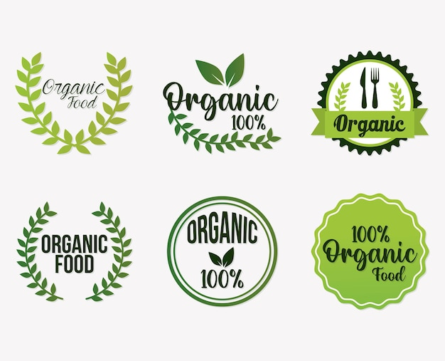 Set di lettere di alimenti biologici