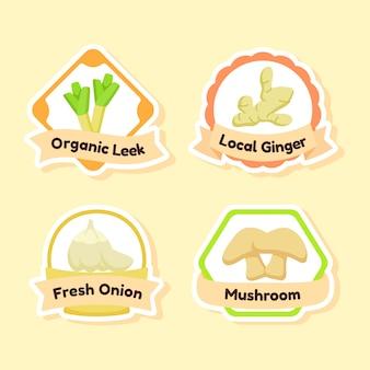 Set di icone di verdure fresche biologiche