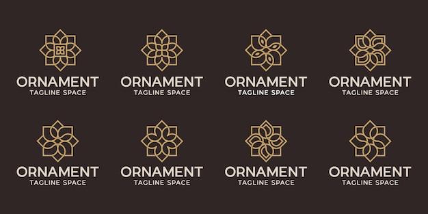 Set di ornamento logo design. linea logo fiore nero e oro