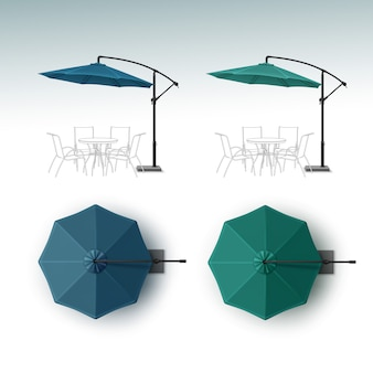 Set di ombrellone ristorante all'aperto beach cafe