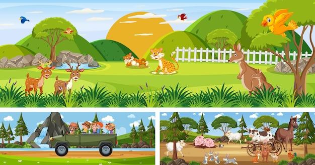 Set di paesaggi panoramici all'aperto con personaggio dei cartoni animati