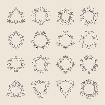 Set di cornici monogramma nero contorno elegante logo lineart