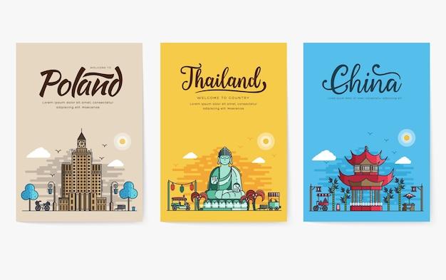 Set di contorno diverse città per destinazioni di viaggio.