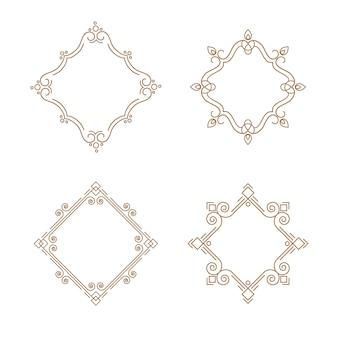 Set di contorno emblemi linea cornice. modello struttura monogramma.