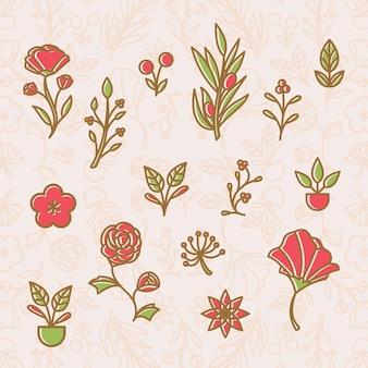 Set di elementi floreali di contorno